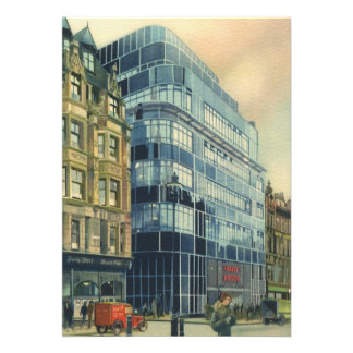 Vintage Daily Express Building on Fleet Street Announcement