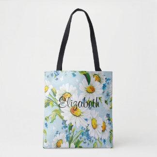 Vintage Daisies Floral Tote Bag CUSTOMIZABLE
