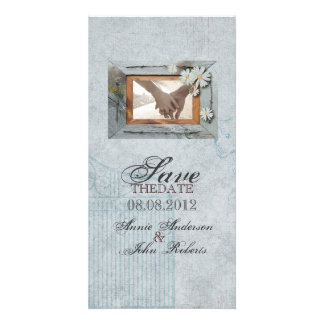 Vintage Daisy barnwood Country save the date Photo Card Template