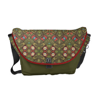 Vintage Daisy Floral Green Messenger Bags