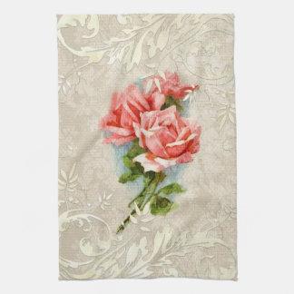 Vintage Damask and Roses Kitchen Towel