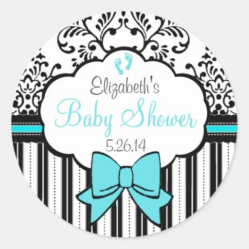 Vintage Damask and Stripes- Baby Shower Sticker