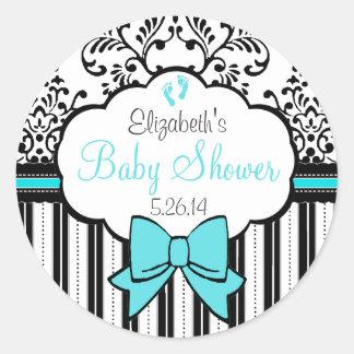 Vintage Damask and Stripes Blue Baby Shower Round Sticker