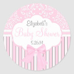 Vintage Damask and Stripes-Pink Baby Shower Round Stickers