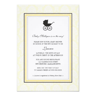 Vintage Damask Baby Carriage Baby Shower 13 Cm X 18 Cm Invitation Card