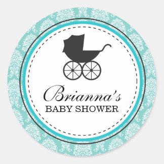 Vintage Damask Baby Carriage Baby Shower Round Sticker