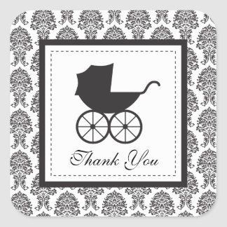 Vintage Damask Baby Carriage Baby Shower Square Sticker