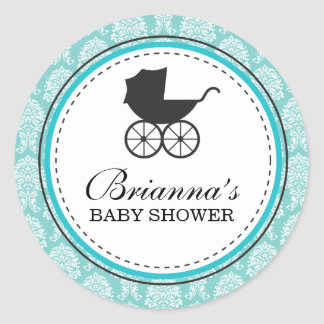 Vintage Damask Baby Carriage Baby Shower Classic Round Sticker