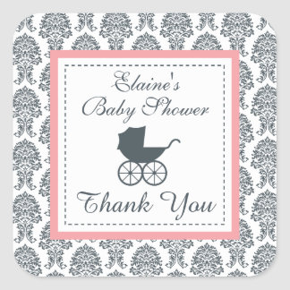 Vintage Damask Baby Carriage Baby Shower Square Stickers
