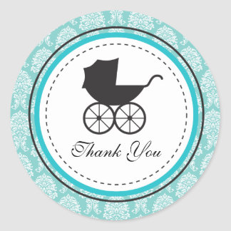 Vintage Damask Baby Carriage Baby Shower Round Stickers