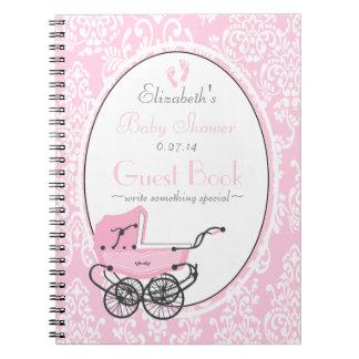 Vintage Damask-Baby Shower Guest Book- Notebook