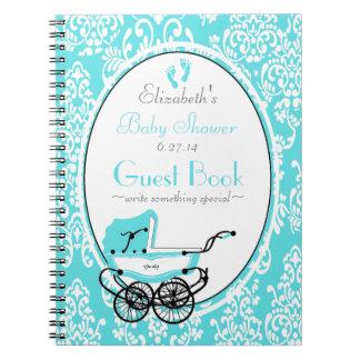 Vintage Damask-Baby Shower Guest Book- Journals