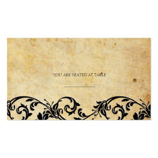 Vintage Damask Black Swirl Wedding Placecards Business Card Template