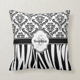 Vintage Damask Cool Zebra Stripes Throw Pillow