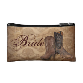 vintage damask Cowboy Boots Country bride Makeup Bag