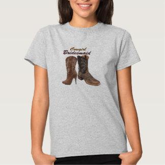 vintage damask Cowboy Boots Country bridesmaid Tee Shirts