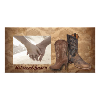vintage damask Cowboy Boots Country wedding Photo Card