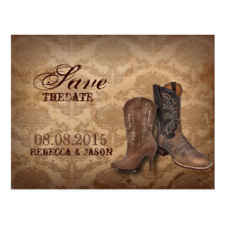 vintage damask Cowboy Boots Country wedding Post Cards