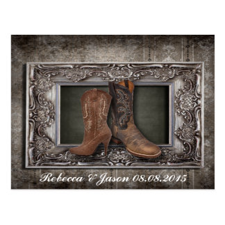 vintage damask Cowboy Boots Country wedding Postcard