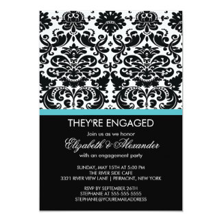 Vintage Damask Engagement Party Card