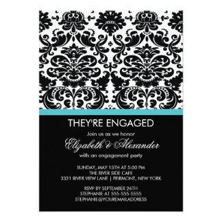 Vintage Damask Engagement Party Custom Invite