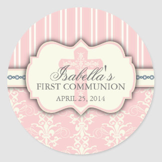 Vintage Damask First Communion Sticker