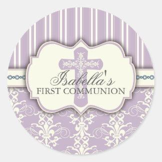 Vintage Damask First Communion Sticker   Purple