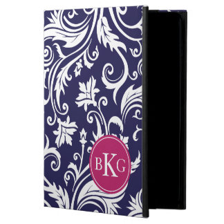 Vintage Damask Floral Pattern | Navy Berry Pink iPad Air Cover