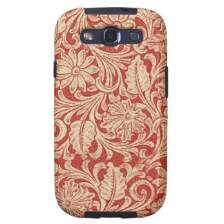 Vintage Damask Floral Red Samsung Galaxy S3 Vibe Samsung Galaxy S3 Cases
