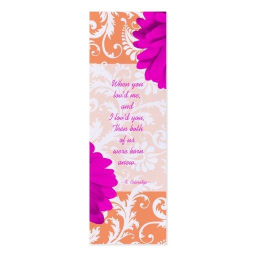 Vintage Damask Gerber Daisy Wedding Tags Business Card Template
