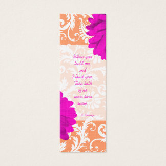 Vintage Damask Gerber Daisy Wedding Tags Mini Business Card