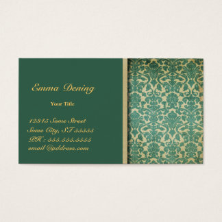 Vintage Damask Green Business Card