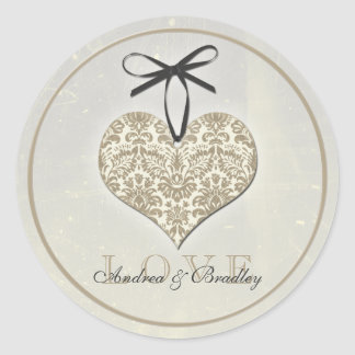 Vintage Damask Heart Grey Personalized Wedding Round Sticker