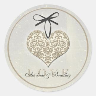 Vintage Damask Heart Grey Personalized Wedding Round Sticker
