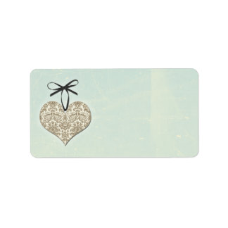 Vintage Damask Heart Mint Wedding Blank Address Address Label