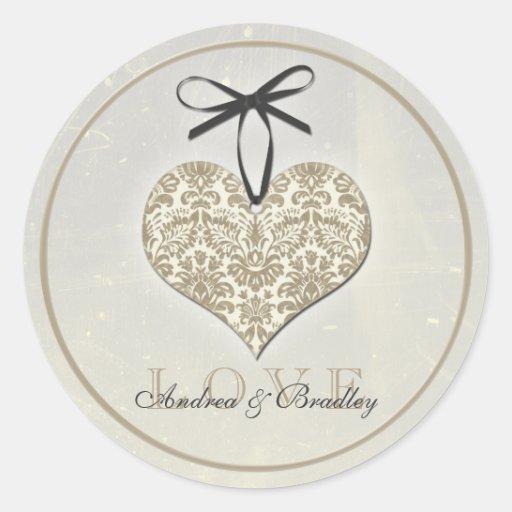 Vintage Damask Heart Monogram Wedding Sticker
