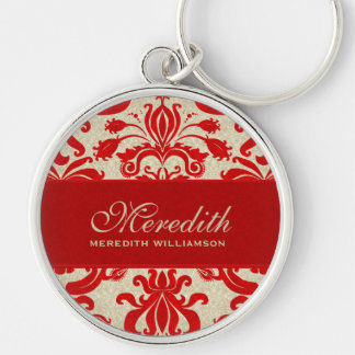 Vintage Damask in Cream and Red Custom Silver-Colored Round Key Ring