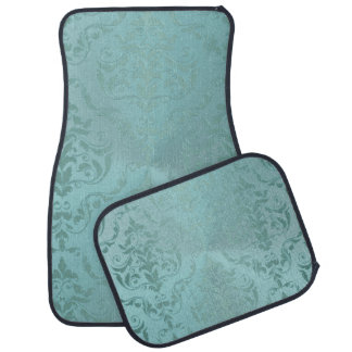 Vintage Damask in Pale Aqua Antique Car Mats