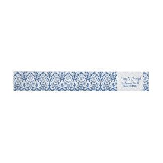 Vintage Damask Navy Blue White Return Address Wraparound Return Address Label