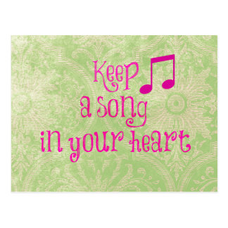Vintage Damask Paper with Song in your Heart Quote Postcard