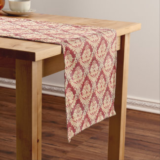 Vintage Damask Pattern In Cream And Red Medium Table Runner