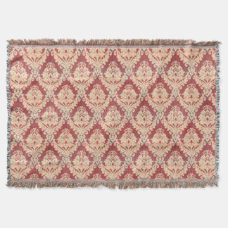 Vintage Damask Pattern In Cream And Red Throw Blanket