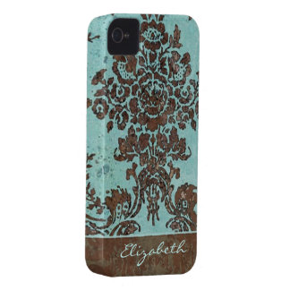 Vintage Damask Pattern with Area for Name iPhone 4 Cover
