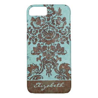 Vintage Damask Pattern with Area for Name iPhone 7 Case