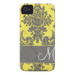Vintage Damask Pattern with Monogram iPhone 4 Case-Mate Case