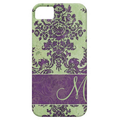 Vintage Damask Pattern with Monogram iPhone 5 Covers