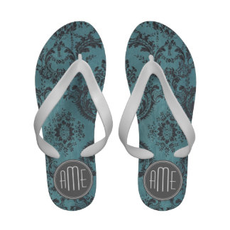 Vintage Damask Pattern with Monogram Sandals