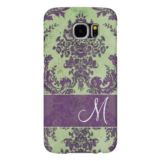 Vintage Damask Pattern with Monogram Samsung Galaxy S6 Cases