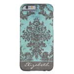Vintage Damask Pattern with Name - teal grey