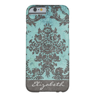 Vintage Damask Pattern with Name - teal grey Barely There iPhone 6 Case